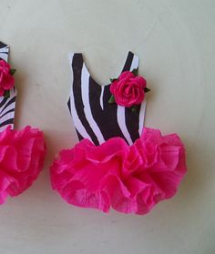 Ballerina Tutu Cupcake Toppers In Zebra Print Set of 6. $12.00, via Etsy.