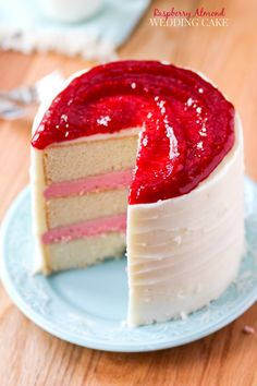 Raspberry Almond Wedding Cake from Cookbook Queen - pinning for the raspberry buttercream!