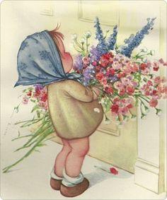 Moederdag......    meisje met bloemen voor moeder..