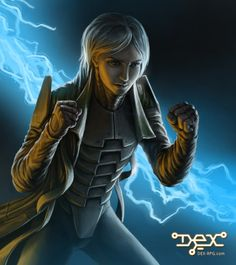 The main artwork for the Euroforce BattleRig, the combat armor allowing Dex to block incoming bullets. Dex - 2D cyberpunk indie RPG game - www.dex-rpg.com
