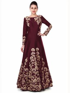Siddeshwary Fab taffeta Silk Embroidered Gown For Women And Girl ( Navy Blue Gown ) - Wedding Collections Indian Ladies Dress, Indian Gowns, Indian Wear, Indian Style, Indian Outfits, Designer Gowns, Indian Designer Wear, Indian Designers, Beautiful Gowns