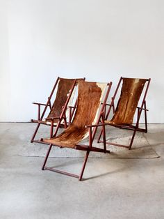 I guess you can staple cowhide on any lounge chair and it will look expensive! Vintage Cowhide Lounge Chairs via Etsy Cowhide Furniture, Cowhide Ottoman, Leather Furniture, Furniture Decor, Furniture Design, Outdoor Furniture, Furniture Vintage, Bohemian Furniture, Leather Interior