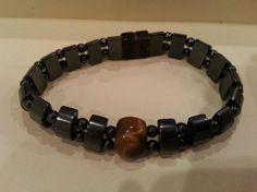 Vintage bracelet #7 magnet closure, titanium color tone, Brown glass? Stone? in Bracelets | eBay