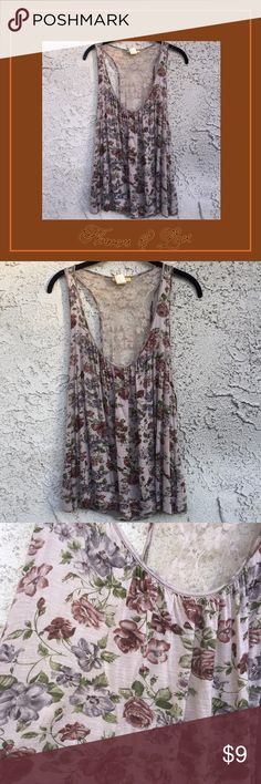 Gorgeous beige floral top w/ lace back Only worn once. Waist length Finesse Tops Tank Tops