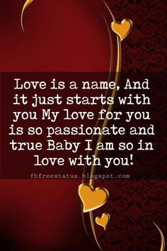I Love You Text Messages, Love is a name, And it just starts with you My love for you is so passionate and true Baby I am so in love with you!