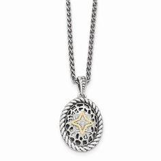 14K Two-Tone Gold Sterling Silver w/14k Diamond Necklace