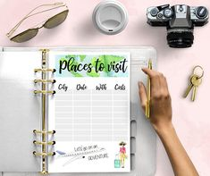 PLACES TO VISIT Printable Planner Inserts  Watercolor  A5