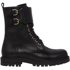 Salvatore Ferragamo Women 30mm Crotone Leather Combat Boots (€935) ❤ liked on Polyvore featuring shoes, boots, black, schuhe, army boots, side zip combat boots, combat boots, black military boots and black shoes
