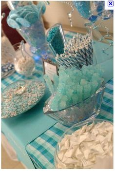 Baby blue candy buffet - my cousin just did this at her shower - such a cute idea!!