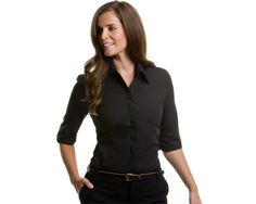 This very stylish Ladies Continental Blouse is designed with three quarter length sleeves and a rounded bottom.