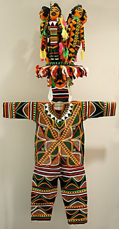 Africa | Ancient mother (Odogo) masquerade costume from the Okpella Edo people of Nigeria | Made by Lawrence Ajanaku, 1970s | Cotton cloth applique.