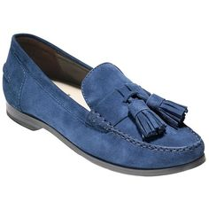 Cole Haan Pinch Grand Suede Loafers ($170) ❤ liked on Polyvore featuring shoes, loafers, blue, blue suede shoes, almond toe shoes, tassel shoes, cole haan shoes and tassel loafers