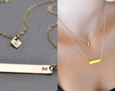 Check out Layered Gold Bar Necklace, Personalized Necklace, Handstamped Gold Necklace, Two initial Necklace on malizbijoux