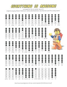 Everything Is Awesome sheet music for tin whistle with finger holes. Recorder Notes, Recorder Music, Recorder Karate, Music Chords, Guitar Chords, Ukulele, Cc Music, Music For Kids, Music Tabs