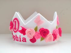 Butterfly Crown Felt Birthday Crown Roses Pink por pixieandpenelope