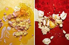 Rachel Bee Porter - smashed plates of food Experimental Photography, Artistic Photography, Photography Ideas, Traditional Photographs, Joy Of Cooking, A Level Art, Photo Series, Consumerism, Still Life Photography