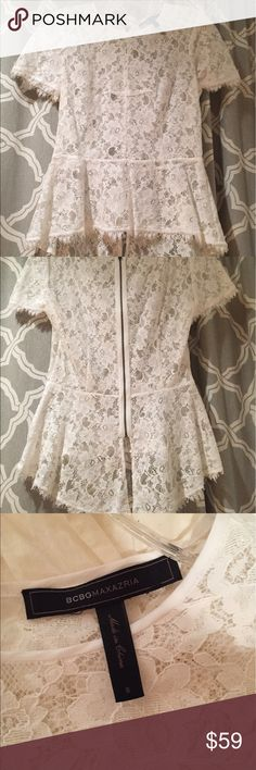 Brand New Without tags BCBG White Lace Blouse BCBG White Lace Blouse with a zipper in the back BCBG Tops Blouses