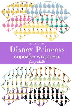 Disney Princess Cupcake Wrappers - Free Printable. Perfect for a Disney Princess birthday party - there are cupcake toppers to match too!