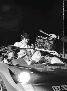 "On the set of ""A Clockwork Orange"" - Dir. Stanley Kubrick, 1971."