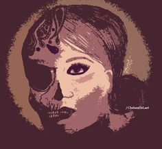 Classy Skull Faced Woman. Tired of living with a mask on. #Skull #Art #Drawing #Graphic