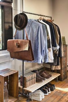 Pipe clothes rail. Men's clothing.