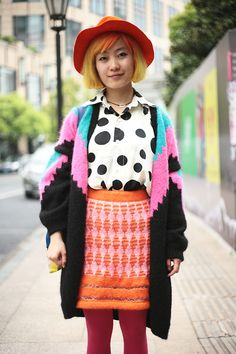 Loving the eclectic colour and pattern clashing in this street shot from Shanghai Fashion Week.