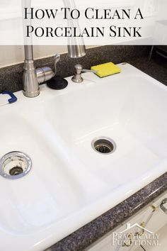 How To Clean A Porcelain Sink - even hard water stains, discoloration, scuff marks, and scratches in just ten minutes!