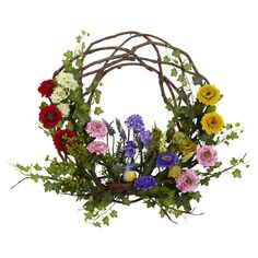 Nearly Natural Spring Floral Wreath. Charming and elegant, this wreath utilizes a twig circle with spring flower accents, making it wholly unique and distinctive. The wreath also includes a small bird figurine to complete the spring motif. Silk Flowers, Spring Flowers, Faux Flowers, Paper Flowers, Deco Nature, Hydrangea Wreath, Tulip Wreath, Berry Wreath, Spring Nature