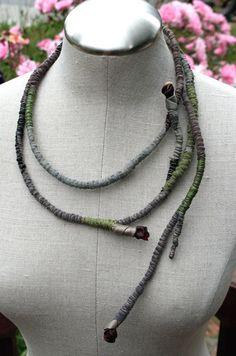 RESERVED  Esmeralda  Wrapped Textile Fiber by atelierdana on Etsy, $95.00