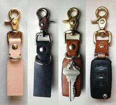 few Variety of trigger snaps that we manufacture. keyholders created out of leather waste.