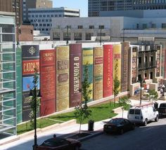 Kansas City, Missouri, public library. Possibly the coolest library building facade on the planet. The parking lot is paperbacks.