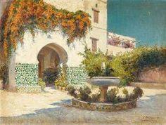 Algérie -  Peintre Français Eugene Jules DELAHOGUE(1867-1930), huile sur toile , Titre :  Château d'Hydra