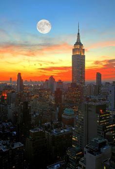 What uplifts my spirit?  the New York City skyline at dusk.