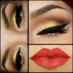 maquillajes de noche, delineados, labios rojos