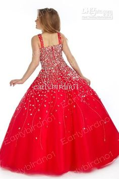 little girls pageant dresses | Little Girl's Pageant Dresses 2013 Sexy Spaghetti Beaded Organza Red ...