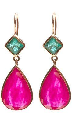 Jade Jagger Ruby & Emerald Gold Drop Earrings