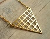 Geometric Triangle Necklace ... Vintage Grid Waffle Brass Geometric Shape with Gold Chain