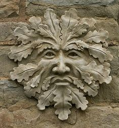 "truthnatureandbeauty: "" The Green Man. Protector deity of animals and wild places. In the Celtic world the Green Man is most closely associated with Cernunnos. Holly King, Celtic Green, Man Images, Garden Ornaments, Deities, Garden Art, Lion Sculpture, Metal Sculptures, Abstract Sculpture"