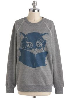 Come Tome to Me Sweatshirt: As a writer  you wish all cats were as well-versed in the classics as this adorable little kitten  who cant wait to cuddle up with you! You wont ever want to le…    #1960s #60s #Retro #Vintage #ComeTomeToMeSweatshirt, #Grey, #KinShip