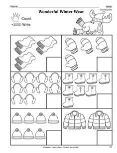 This perfect-for-winter math worksheet gives students practice counting sets of winter wear. A freebie from TheMailbox! Number Worksheets Kindergarten, Preschool Activities, Kindergarten Math, Math Worksheets, Winter Activities For Kids, Math For Kids, Teach English To Kids, Math Drills, Dots Game
