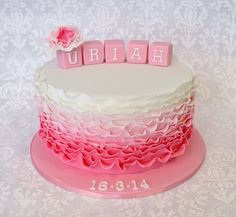 Girls Ombré Ruffle Christening Cake with Blocks