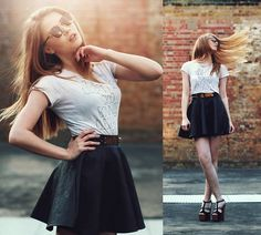 Pull And Bear T Shirt, Miss Selfridge Skirt, Asos Belt