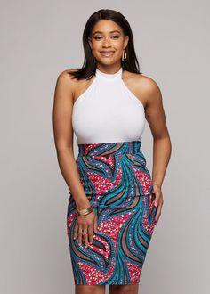 Entari Skirt Zari Women's African Print Knee-Length Pencil Skirt (Pink Blue Leaves) – Clearan… African Print Skirt, African Print Clothing, African Print Fashion, African Fashion Skirts, Skirt Fashion, Fashion Outfits, Nigerian Fashion, Swag Outfits, Women's Fashion