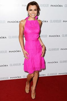 Samantha Barks shows off her figure in hot pink at the Glamour Awards.