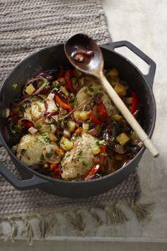 Kip uit het pannetje met spekjes, paprika en ananas - Boodschappen