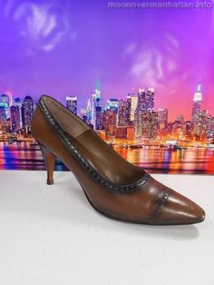 """Womens shoes PALIZZIO brown leather HAND MADE VINTAGE 3"""" high heel pumps sz 7 3A #Palizzio #PumpsClassics"""
