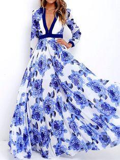 Floral Printed Deep V-neck Long Sleeves Maxi Dress