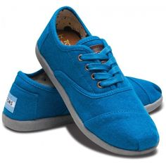 TOMS Youth Blue Wool Cordones 3 ($38) ❤ liked on Polyvore featuring shoes, baby and toms