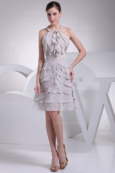 Beaded round halter neck with pleated waist chiffon knee-length dress