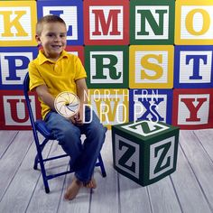 Photography Backdrop  Alphabet Blocks With Z Block Prop  3 &